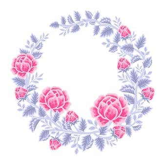 Hand drawn pink and violet rose floral frame and wreath arrangement