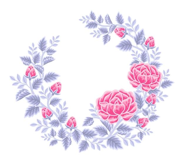 Hand drawn pink and violet rose flower frame and wreath arrangement