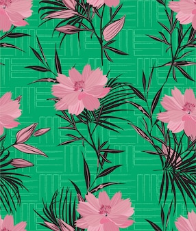 Hand drawn pink wild flowers and leaves on  geometric line texture seamless pattern