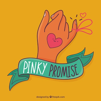 Hand drawn pinky promise composition