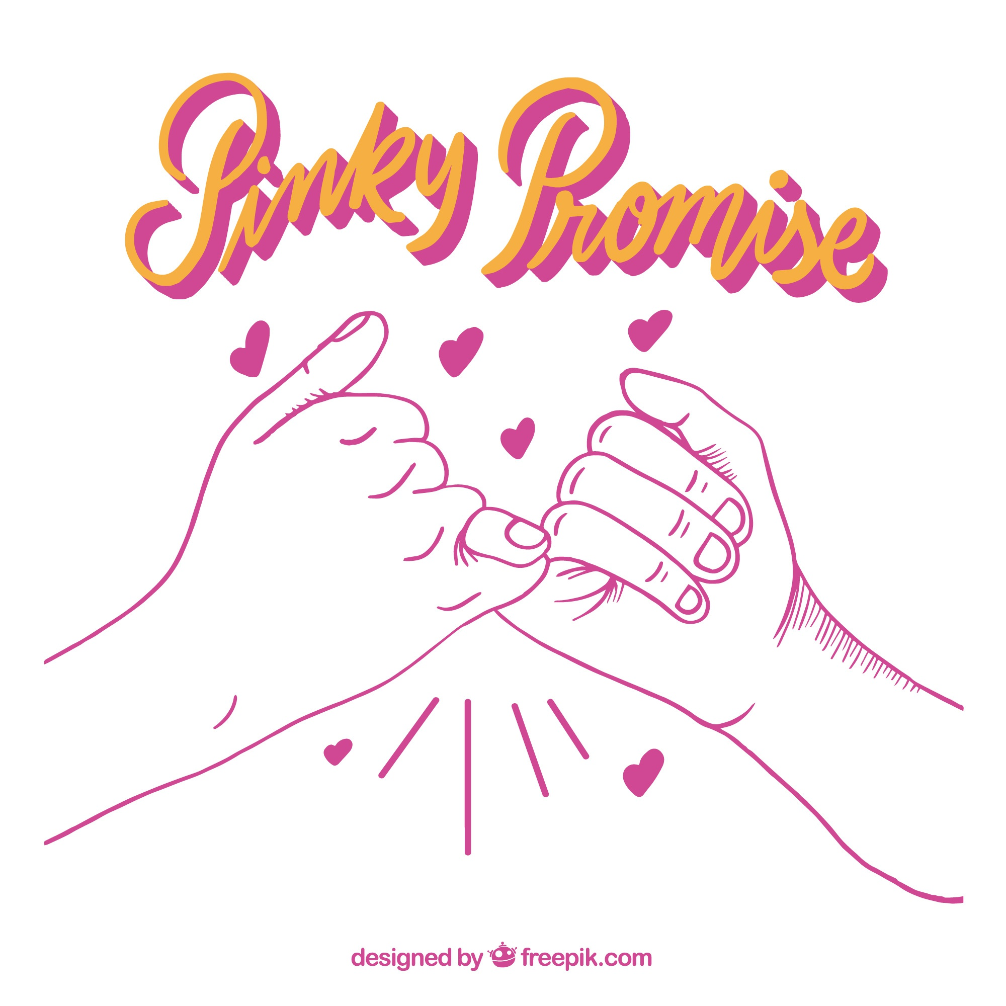 Hand drawn pinky promise concept