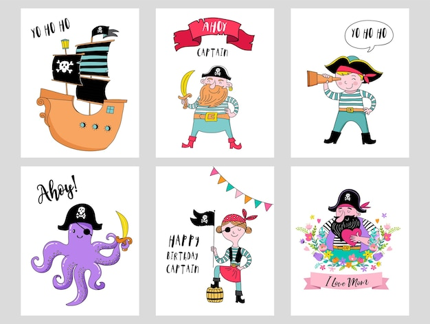 Hand drawn pirate cards set