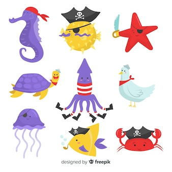 Hand drawn pirate sea animals collection