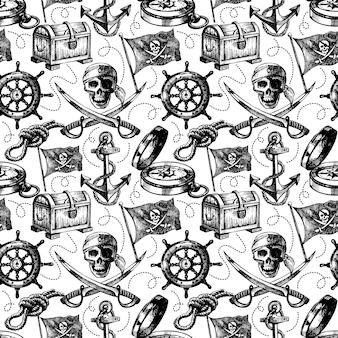 手描きの海賊のシームレスなパターン。スケッチベクトルイラスト
