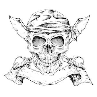 절묘한 스타일의 손으로 그려진 해적 두개골