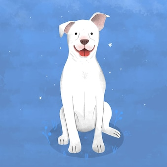 Hand drawn pitbull illustration