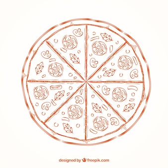 Рисованная пицца фон
