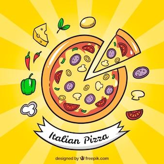 손으로 그린 피자 배경