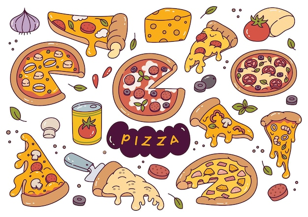 Hand drawn pizza doodle vector