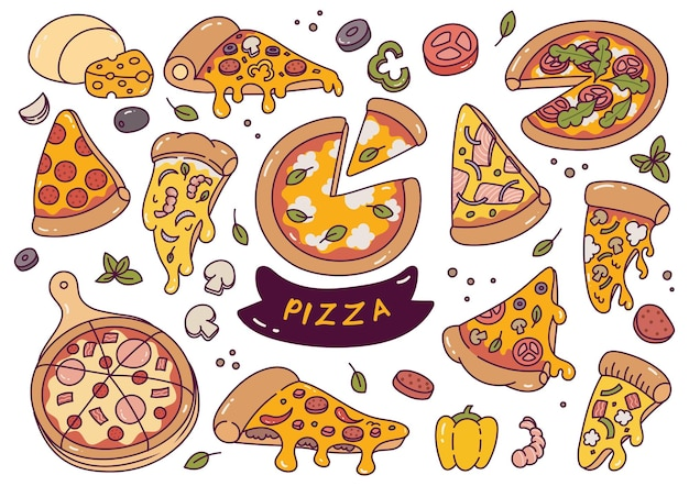 손으로 그린 피자 낙서