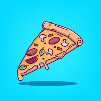 手描きピザアイコンベクトル図