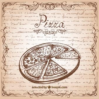 レトロなスタイルで手描きピザ