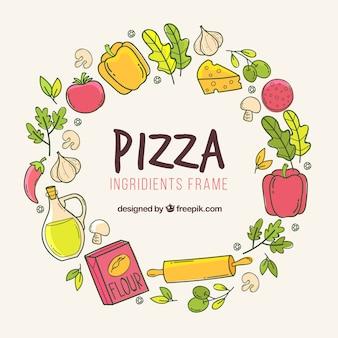 手描きのピザ材料フレーム
