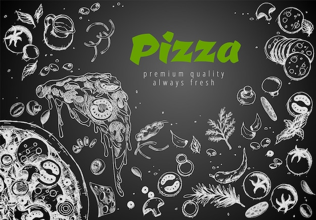 Hand drawn pizza line banner. engraved style chalk doodle background. savoury pizza ads with 3d illustration rich toppings dough. tasty vector banner for cafe, restaurant or food delivery service.