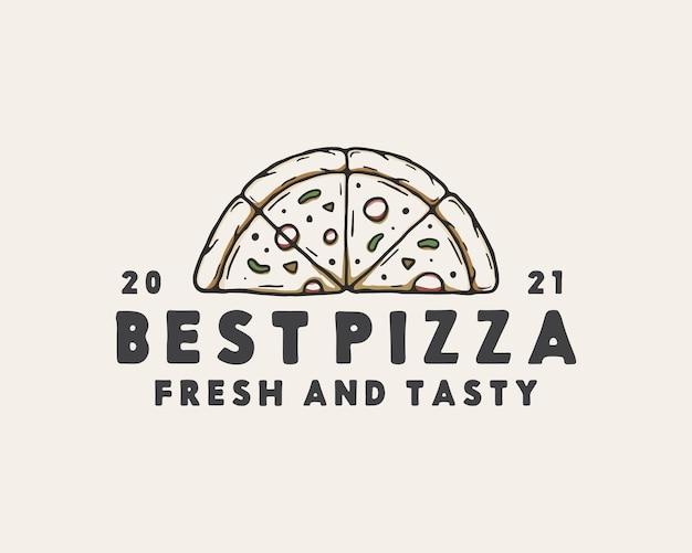 Шаблон логотипа рисованной пиццы