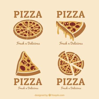 Disegnati a mano pizze loghi