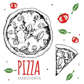 手描きのピザマルゲリータデザインテンプレート。スケッチスタイルの伝統的なイタリア料理。平らな野菜を落書きします。ピザ全体とスライス。メニュー、ポスター、チラシのデザインに最適です。ベクトルイラスト。