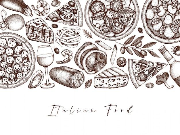 手描きのピザ、パスタ、ラビオリ、食材トップビューフレーム。イタリア料理と飲み物のメニュー。刻まれたスタイルのイタリア料理のテンプレート。食品配達、ピザ屋のイタリア料理ヴィンテージスケッチ。