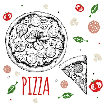 手描きピザペパロニデザインテンプレート。スケッチスタイルの伝統的なイタリア料理。平らな材料を落書きします。ピザ全体とスライス。メニュー、ポスター、チラシのデザインに最適です。ベクトルイラスト。