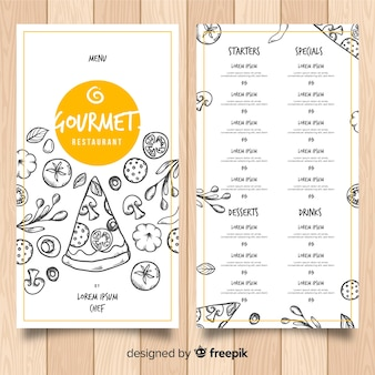 Hand drawn pizza restaurant menu template
