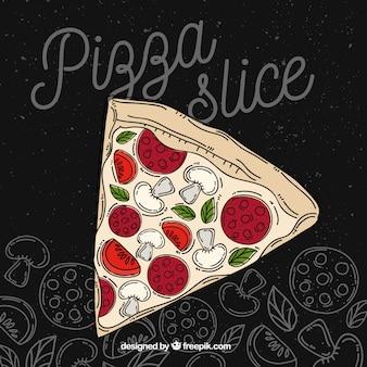 Sfondo di fetta di pizza disegnata a mano