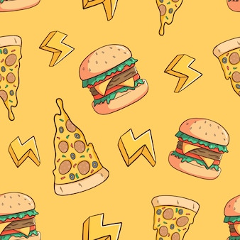 Hand drawn pizza slice and burger seamless pattern