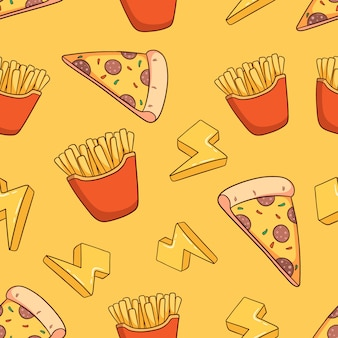 Hand drawn pizza slice and french fries seamless pattern