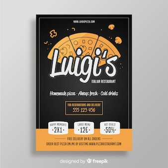 Hand drawn pizza slices brochure template