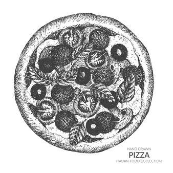 손으로 그린 피자