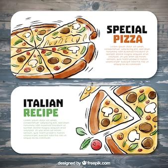 Disegnati a mano striscioni pizzeria