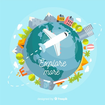 Fondo di viaggio aereo disegnato a mano