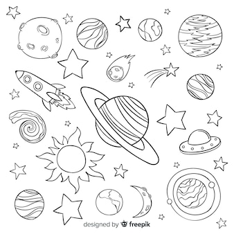 Hand drawn planet collection in doodle style