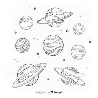 Hand drawn planet collection in doodle style Premium Vector