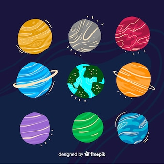 Коллекция рисованной планеты в стиле каракули