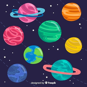 Hand drawn planet collection