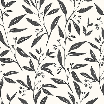 Hand drawn plant black and white seamless pattern