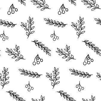 나뭇가지와 열매와 손으로 그린된 식물 원활한 패턴