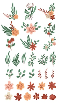 Hand drawn plants collection cute fresh flower drawings