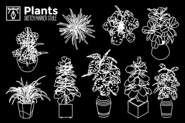 Рисованной растения. набор изолированных видов растений.