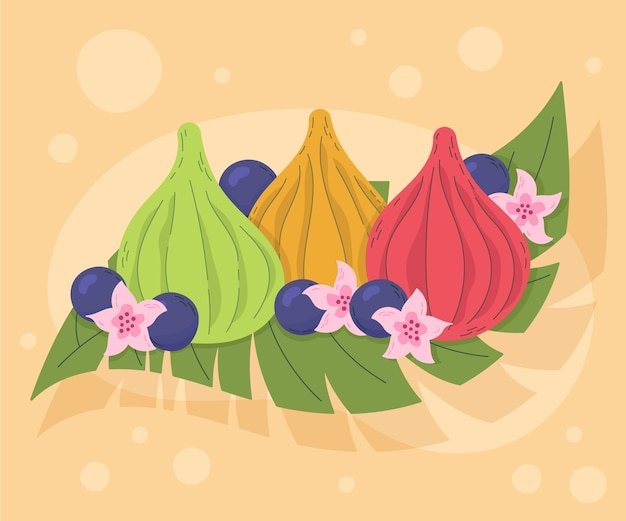 Hand drawn plate of delicious modak and flowers