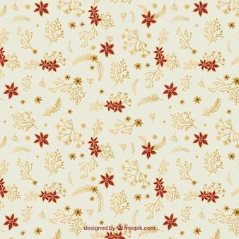 Hand drawn poinsettias pattern