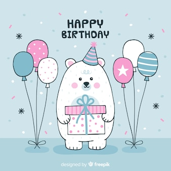 Hand drawn polar bear birthday background