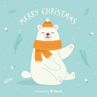 Hand drawn polar bear christmas background