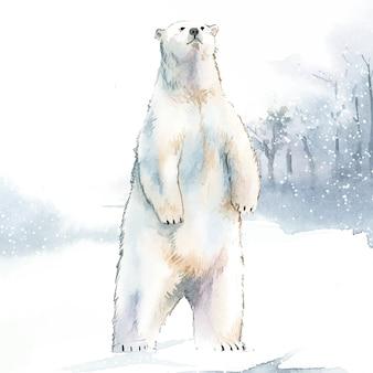 雪の水彩スタイルのベクトルで手描きの北極熊
