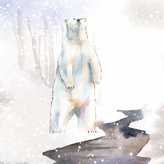 Рисованный полярный медведь в векторе стиля акварели снега