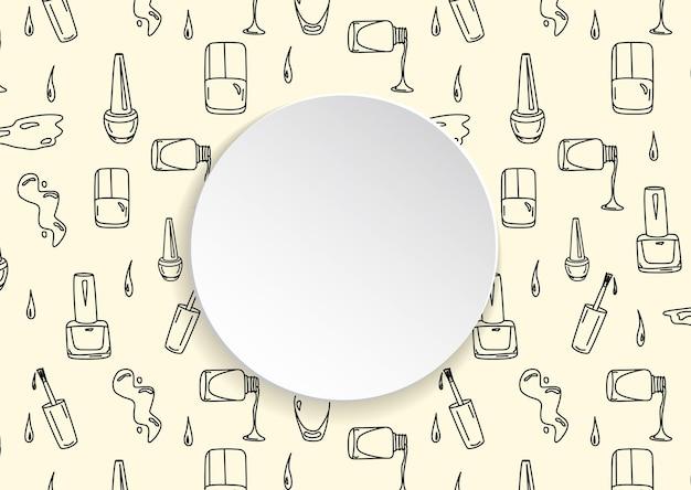 손으로 3d 종이 접시에 폴란드어와 광택 병을 그려.