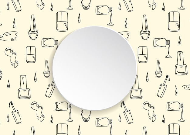 3d紙皿に手描きのポリッシュとワニスのボトル。