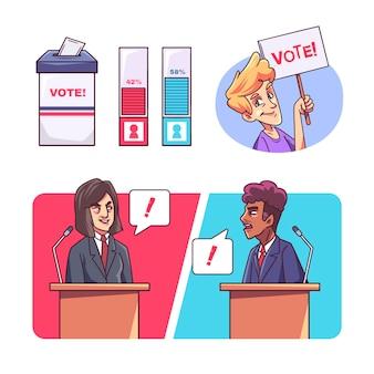 Нарисованная рукой иллюстрация политических дебатов