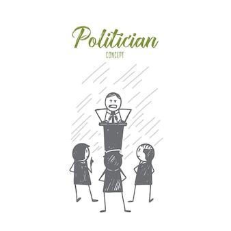 손으로 그린 된 정치인 개념 스케치