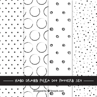 Hand drawn polka dots patterns
